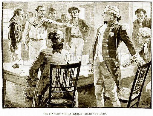 Mutineers Threatening their Officers. Illustration for History of England by HO Arnold-Forster (Cassell, 1897).