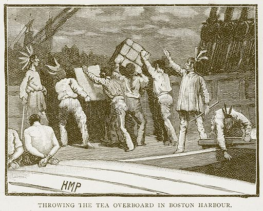 Throwing the Tea Overboard in Boston Harbour. Illustration for History of England by HO Arnold-Forster (Cassell, 1897).