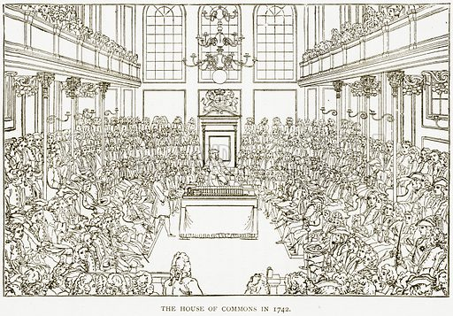 The House of Commons in 1742. Illustration for History of England by HO Arnold-Forster (Cassell, 1897).