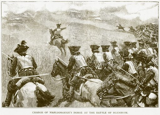 Charge of Marlborough's Horse at the Battle of Blenheim. Illustration for History of England by HO Arnold-Forster (Cassell, 1897).