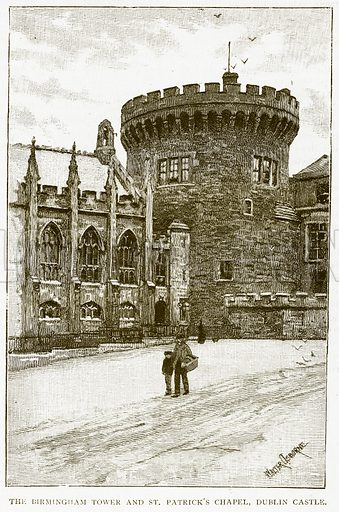 The Birmingham Tower and St Patrick's Chapel, Dublin Castle. Illustration for History of England by HO Arnold-Forster (Cassell, 1897).