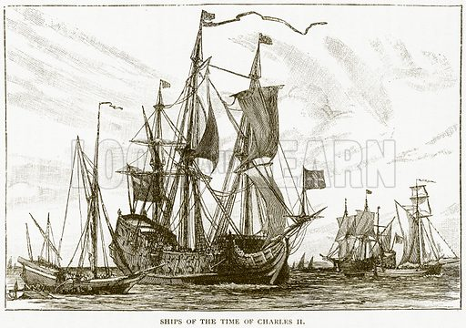 Ships of the Time of Charles II. Illustration for History of England by HO Arnold-Forster (Cassell, 1897).