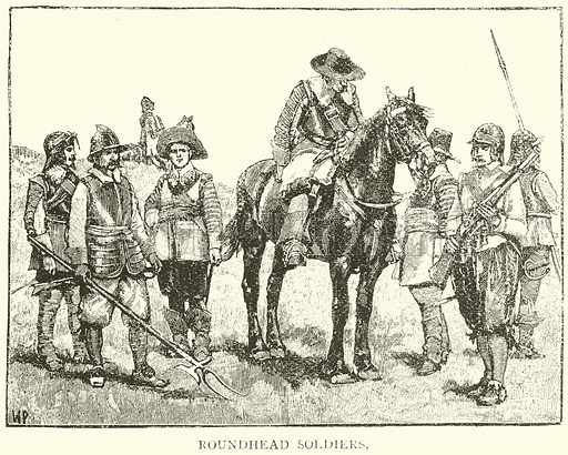 Roundhead Soldiers. Illustration for History of England by HO Arnold-Forster (Cassell, 1897).