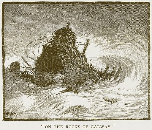 """""""On the Rocks of Galway."""" Illustration for History of England by HO Arnold-Forster (Cassell, 1897)."""