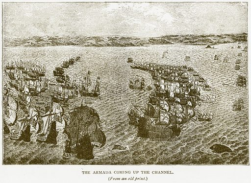 The Armada coming up the Channel. Illustration for History of England by HO Arnold-Forster (Cassell, 1897).