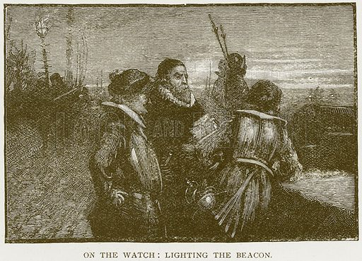 On the Watch: Lighting the Beacon. Illustration for History of England by HO Arnold-Forster (Cassell, 1897).