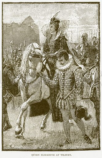 Queen Elizabeth at Tilbury. Illustration for History of England by HO Arnold-Forster (Cassell, 1897).