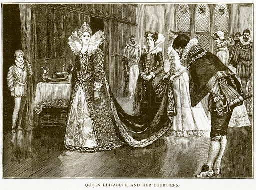 Queen Elizabeth and her Courtiers. Illustration for History of England by HO Arnold-Forster (Cassell, 1897).
