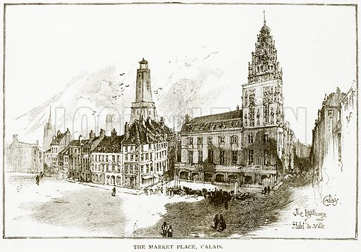 The Market Place, Calais. Illustration for History of England by HO Arnold-Forster (Cassell, 1897).