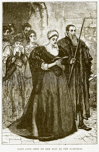 Lady Jane Grey on her Way to the Scaffold. Illustration for History of England by HO Arnold-Forster (Cassell, 1897).