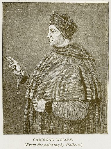 Cardinal Wolsey. Illustration for History of England by HO Arnold-Forster (Cassell, 1897).