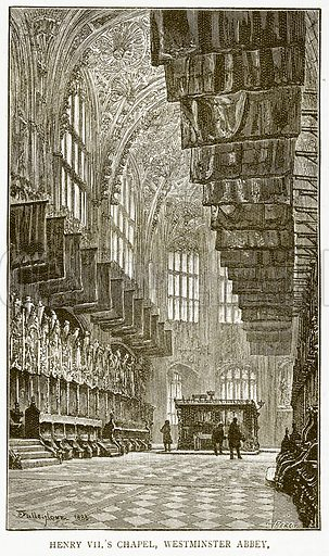 Henry VII's Chapel, Westminster Abbey. Illustration for History of England by HO Arnold-Forster (Cassell, 1897).