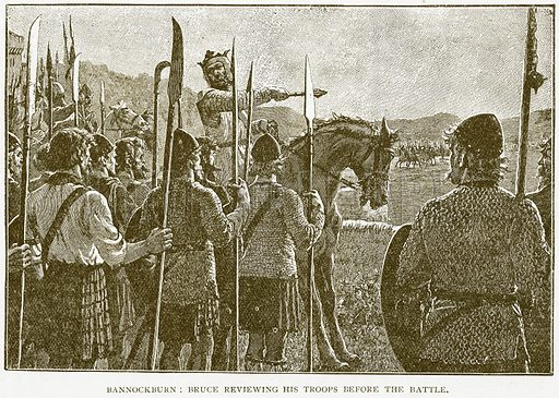 Bannockburn: Bruce reviewing his Troops before the Battle. Illustration for History of England by HO Arnold-Forster (Cassell, 1897).