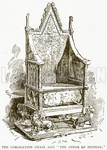 """The Coronation Chair and """"The Stone of Destiny."""" Illustration for History of England by HO Arnold-Forster (Cassell, 1897)."""