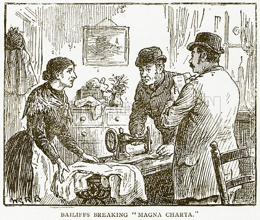 """Bailiffs breaking """"Magna Charta."""" Illustration for History of England by HO Arnold-Forster (Cassell, 1897)."""