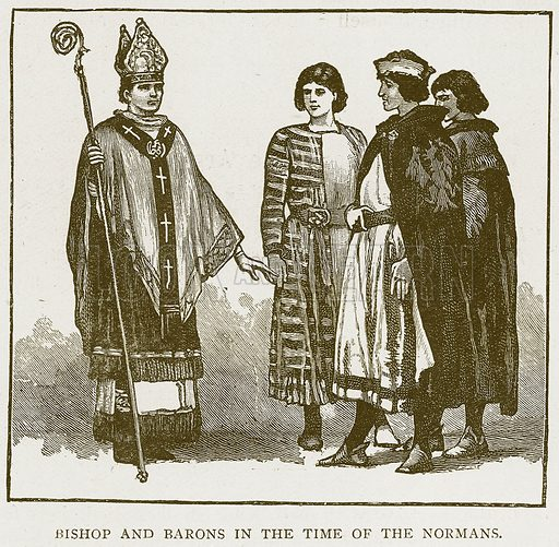 Bishop and Barons in the Time of the Normans. Illustration for History of England by HO Arnold-Forster (Cassell, 1897).