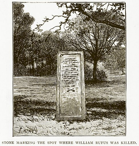 Stone marking the Spot where William Rufus was Killed. Illustration for History of England by HO Arnold-Forster (Cassell, 1897).