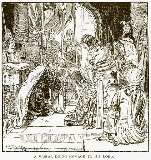 A Vassal doing Homage to his Lord. Illustration for History of England by HO Arnold-Forster (Cassell, 1897).