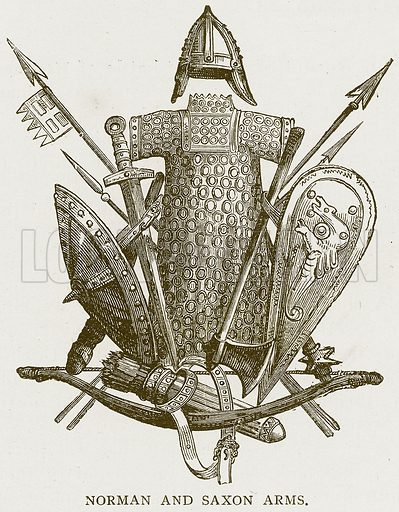 Norman and Saxon Arms. Illustration for History of England by HO Arnold-Forster (Cassell, 1897).