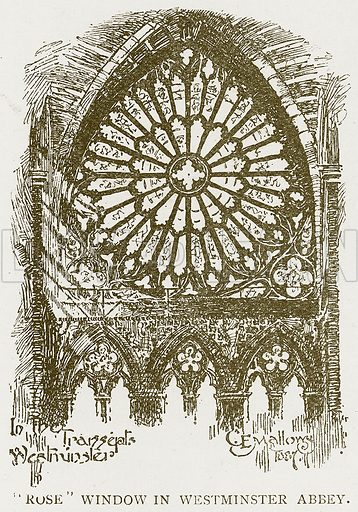 """Rose"" Window in Westminster Abbey. Illustration for History of England by HO Arnold-Forster (Cassell, 1897)."