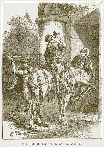 The Murder of King Edward. Illustration for History of England by HO Arnold-Forster (Cassell, 1897).