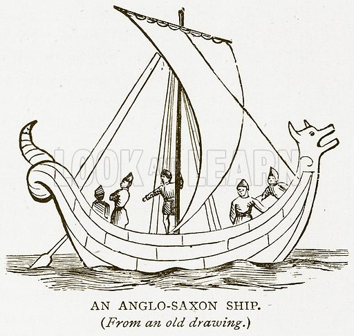 An Anglo-Saxon Ship. Illustration for History of England by HO Arnold-Forster (Cassell, 1897).