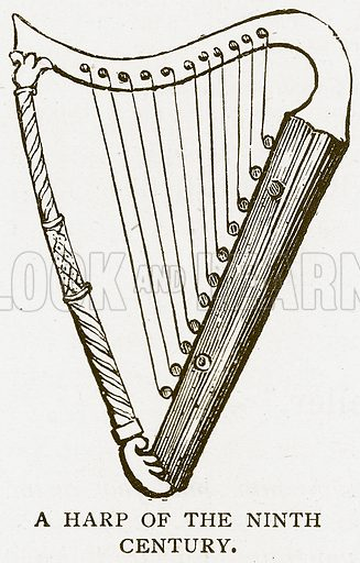 A Harp of the Ninth Century. Illustration for History of England by HO Arnold-Forster (Cassell, 1897).