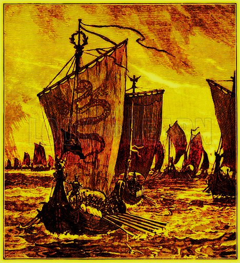 "The ""Keels"" of the Northmen. Illustration for History of England by H O Arnold-Forster (Cassell, 1897)."