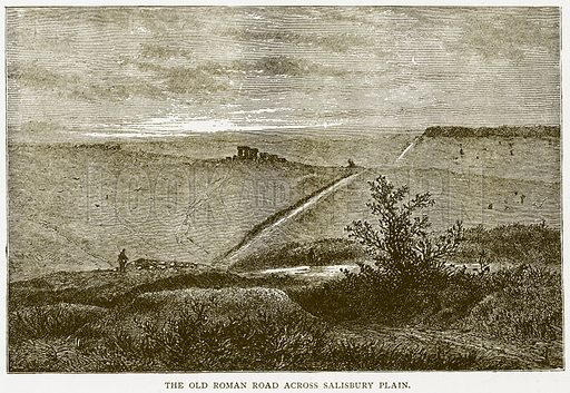 The Old Roman Road across Salisbury Plain. Illustration for History of England by HO Arnold-Forster (Cassell, 1897).