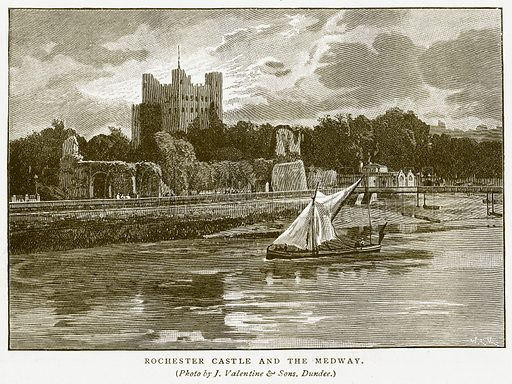 Rochester Castle and the Medway. Illustration for History of England by HO Arnold-Forster (Cassell, 1897).