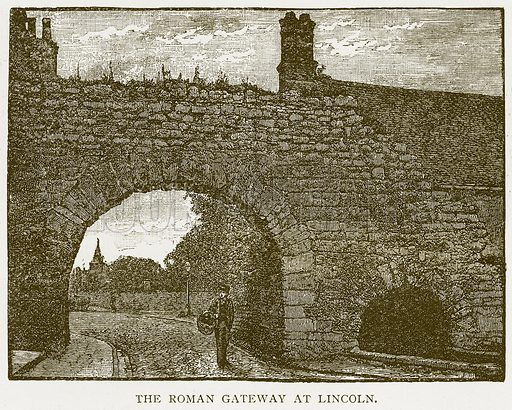 The Roman Gateway at Lincoln. Illustration for History of England by HO Arnold-Forster (Cassell, 1897).