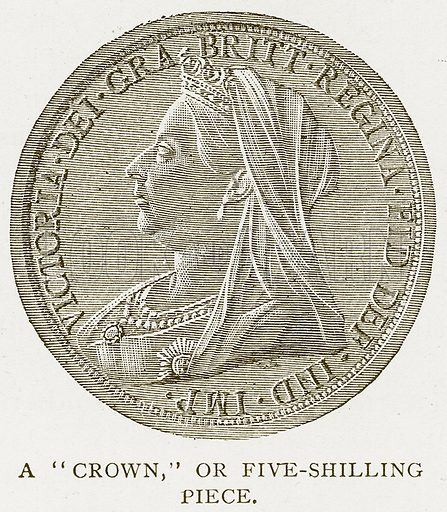 "A""Crown,"" or Five-Shilling Piece. Illustration for History of England by HO Arnold-Forster (Cassell, 1897)."
