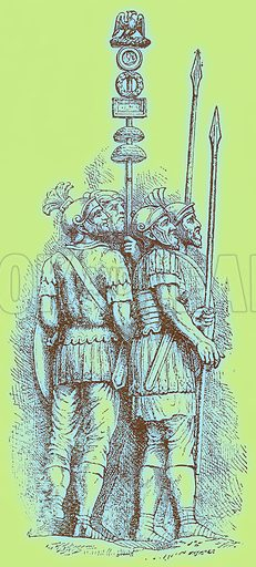 Roman Soldiers. Illustration for History of England by H O Arnold-Forster (Cassell, 1897).