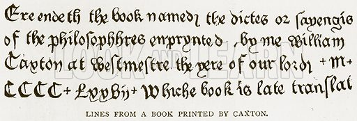 Lines from a Book Printed by Caxton. Illustration for History of England by HO Arnold-Forster (Cassell, 1897).