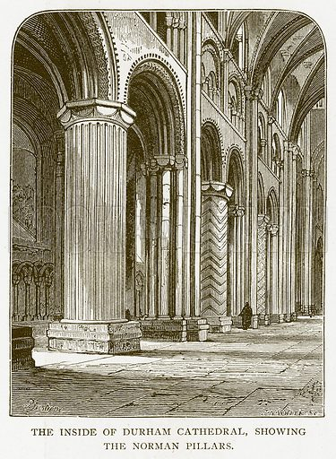 The Inside of Durham Cathedral, showing the Norman Pillars. Illustration for History of England by HO Arnold-Forster (Cassell, 1897).