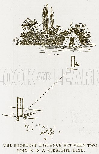 The Shortest Distance between Two Points is a Straight Line. Illustration for History of England by HO Arnold-Forster (Cassell, 1897).