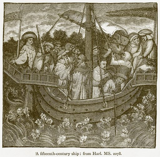 A Fifteenth-Century Ship. Illustration from A Student's History of England by Samuel R Gardiner (Longmans, 1902).