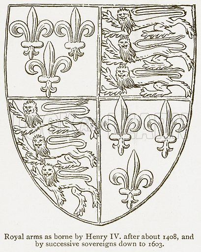 Royal Arms as Borne by Henry IV after about 1408, and by Successive Sovereigns down to 1603. Illustration from A Student's History of England by Samuel R Gardiner (Longmans, 1902).