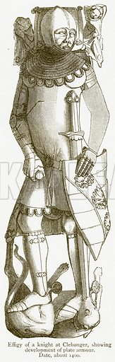 Effigy of a Knight at Clehonger, showing Development of Plate Armour. Date, about 1400. Illustration from A Student's History of England by Samuel R Gardiner (Longmans, 1902).