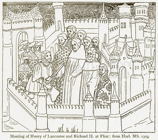 Meeting of Henry of Lancaster and Richard II at Flint. Illustration from A Student's History of England by Samuel R Gardiner (Longmans, 1902).