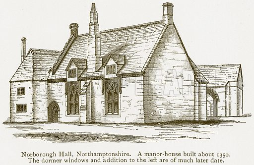 Norborough Hall, Northamptonshire. A Manor-House Built about 1350. The Dormer Windows and addition to the left are of much later Date. Illustration from A Student's History of England by Samuel R Gardiner (Longmans, 1902).