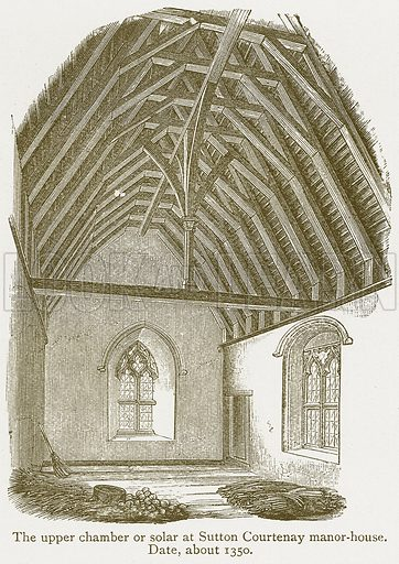 The Upper Chamber or Solar at Sutton Courtenay Manor-House. Date, about 1350. Illustration from A Student's History of England by Samuel R Gardiner (Longmans, 1902).