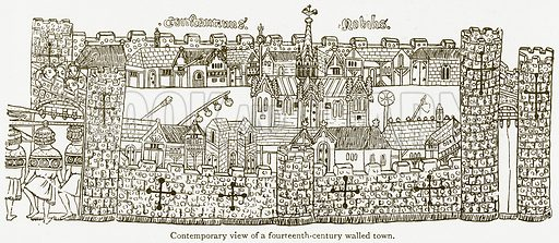Contemporary View of a Fourteenth-Century Walled Town. Illustration from A Student's History of England by Samuel R Gardiner (Longmans, 1902).