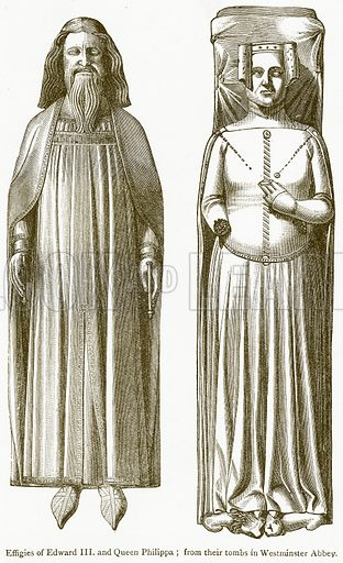 Effigies of Edward III and Queen Philippa. Illustration from A Student's History of England by Samuel R Gardiner (Longmans, 1902).