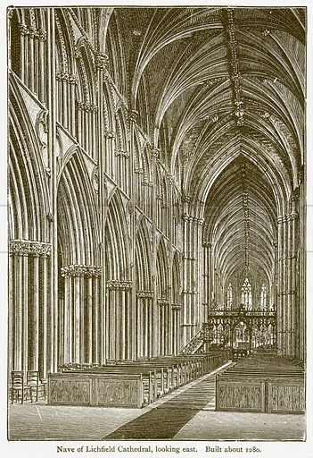 Nave of Lichfield Cathedral, looking East. Built about 1280. Illustration from A Student's History of England by Samuel R Gardiner (Longmans, 1902).