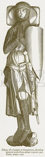 Effigy of a Knight at Gosperton, showing Armour Worn from about 1250 to 1300. Date, about 1270. Illustration from A Student's History of England by Samuel R Gardiner (Longmans, 1902).