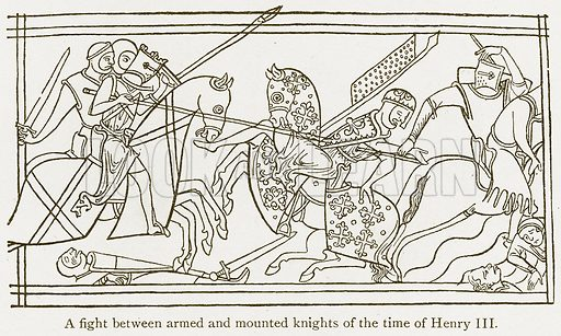 A Fight between Armed and Mounted Knights of the Time of Henry III. Illustration from A Student's History of England by Samuel R Gardiner (Longmans, 1902).