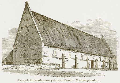 Barn of Thirteenth-Century Date at Raunds, Northamptonshire. Illustration from A Student's History of England by Samuel R Gardiner (Longmans, 1902).