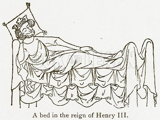 A Bed in the Reign of Henry III. Illustration from A Student's History of England by Samuel R Gardiner (Longmans, 1902).