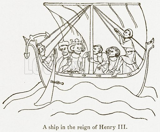 A Ship in the Reign of Henry III. Illustration from A Student's History of England by Samuel R Gardiner (Longmans, 1902).